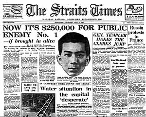 Prima pagina dello Straits Times inglese del 1952