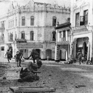 Battaglia nelle strade del centro storico di Kuala Lumpur all'ingresso dei giapponesi